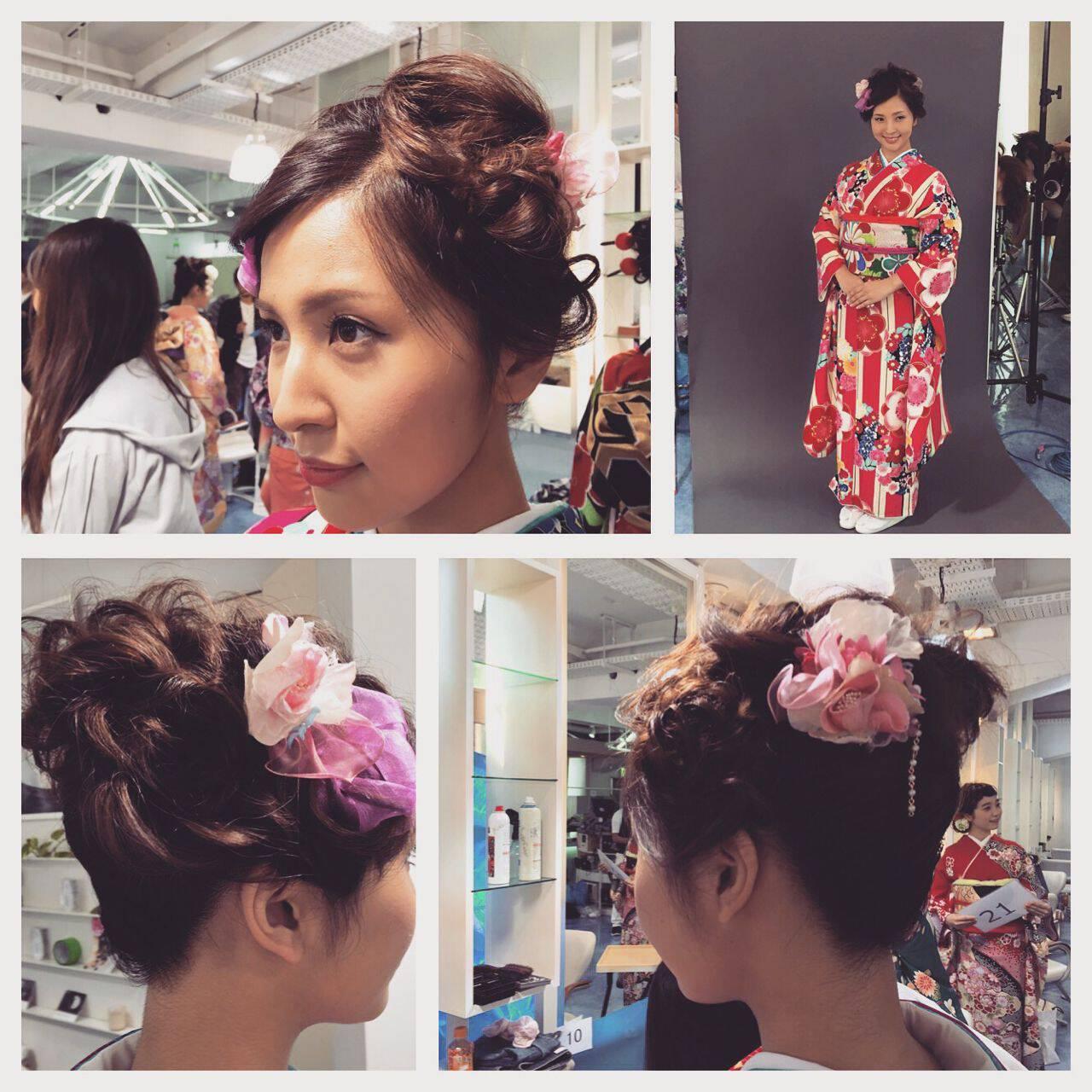 アップスタイル 成人式 ミディアム 編み込みヘアスタイルや髪型の写真・画像