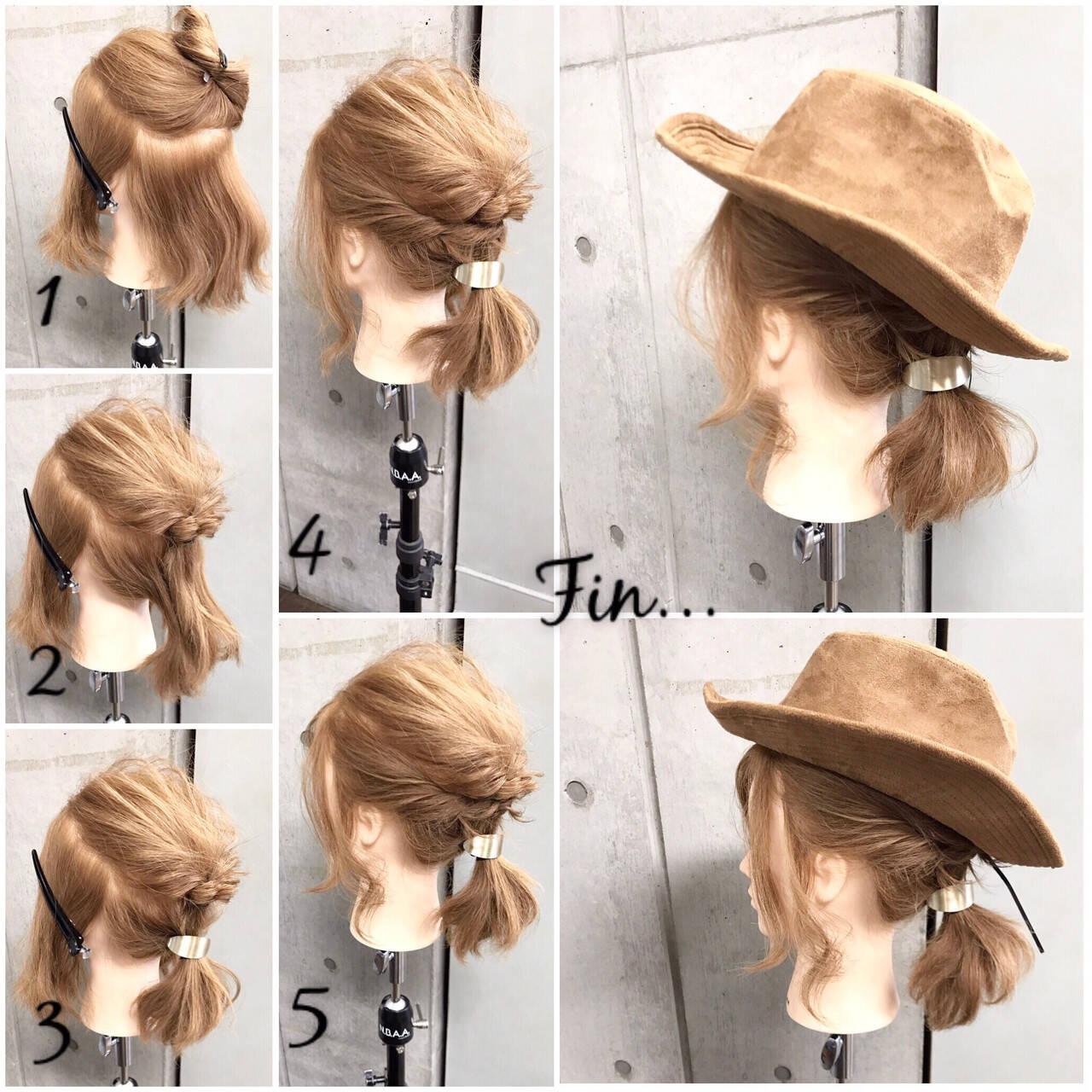 ナチュラル ヘアアレンジ ボブ 簡単ヘアアレンジヘアスタイルや髪型の写真・画像