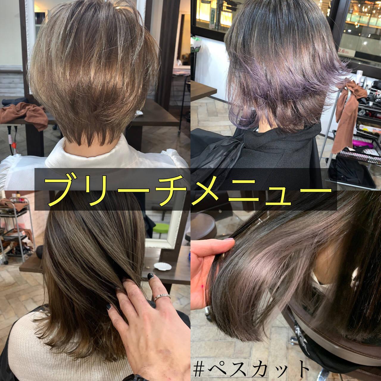 3Dハイライト バレイヤージュ ダブルカラー ハイライトヘアスタイルや髪型の写真・画像