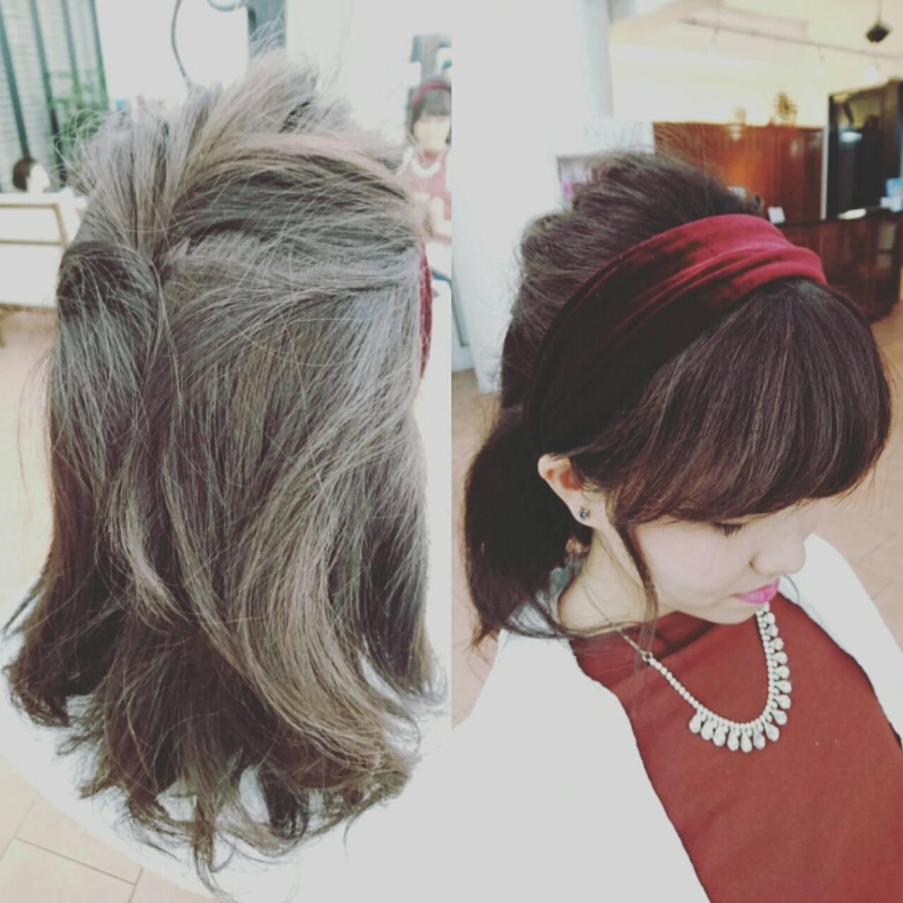 ガーリー ショート カチューシャ ヘアアレンジヘアスタイルや髪型の写真・画像