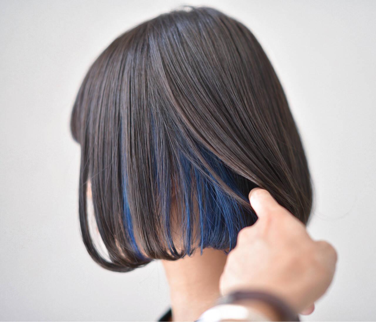 ボブ 暗髪 ハイライト モードヘアスタイルや髪型の写真・画像