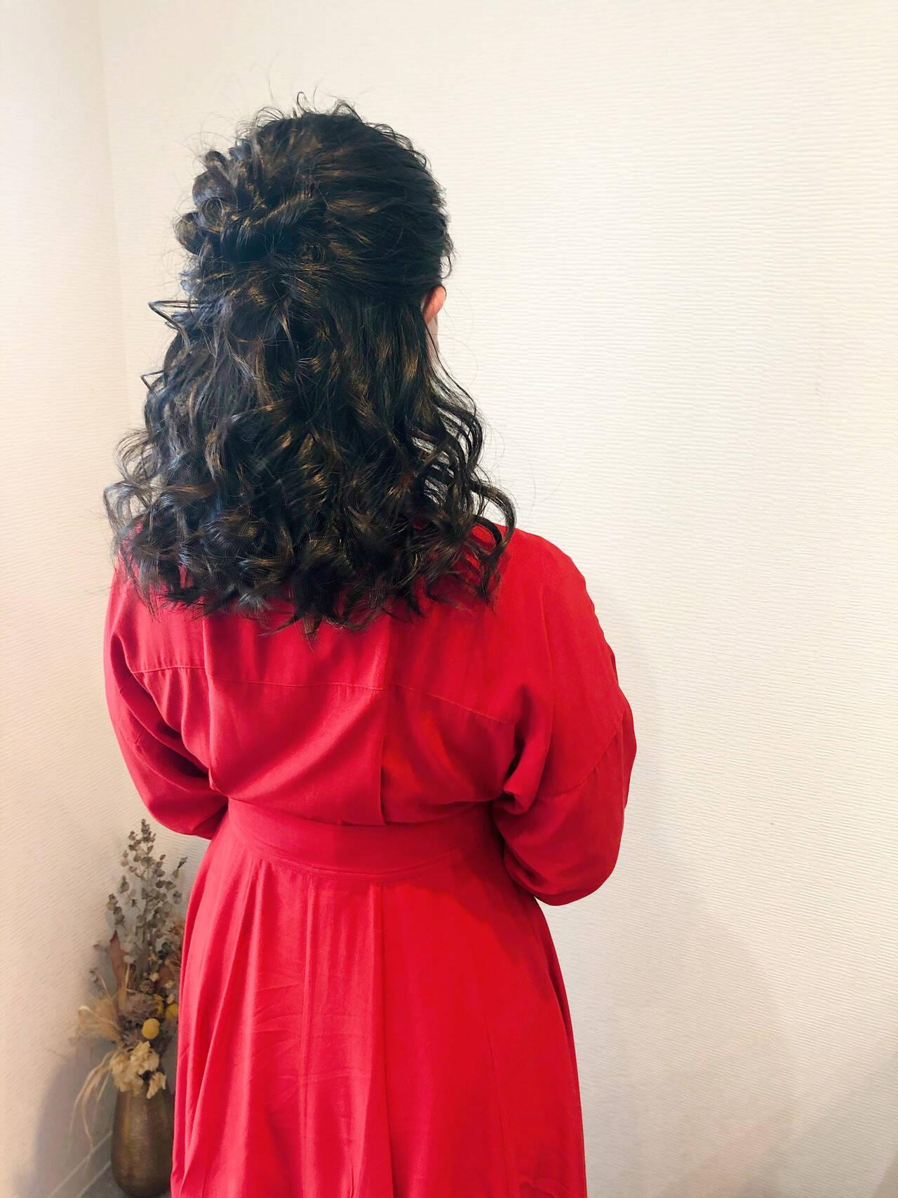 ヘアセット 結婚式 セミロング ヘアアレンジヘアスタイルや髪型の写真・画像