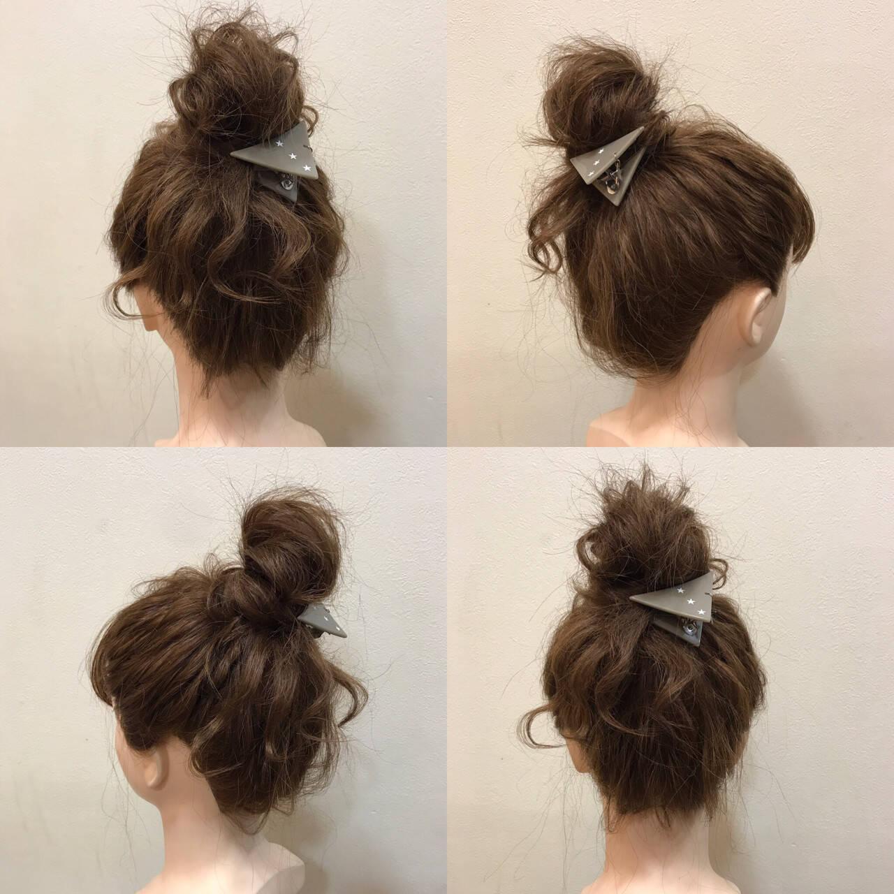 お団子 ミディアム 波ウェーブ ヘアアレンジヘアスタイルや髪型の写真・画像