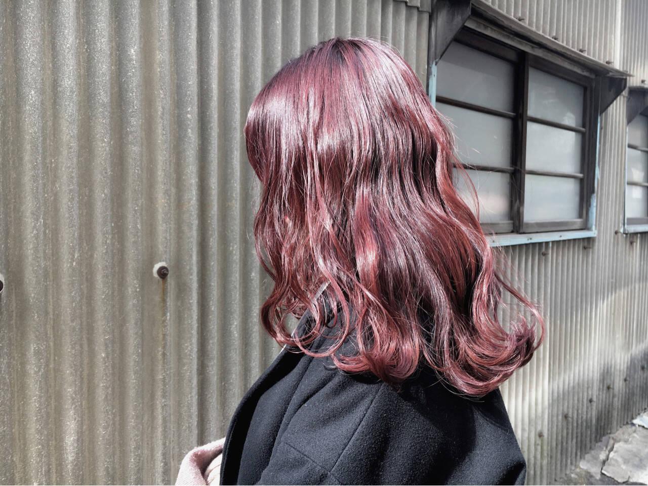デート モード ピンク アンニュイヘアスタイルや髪型の写真・画像