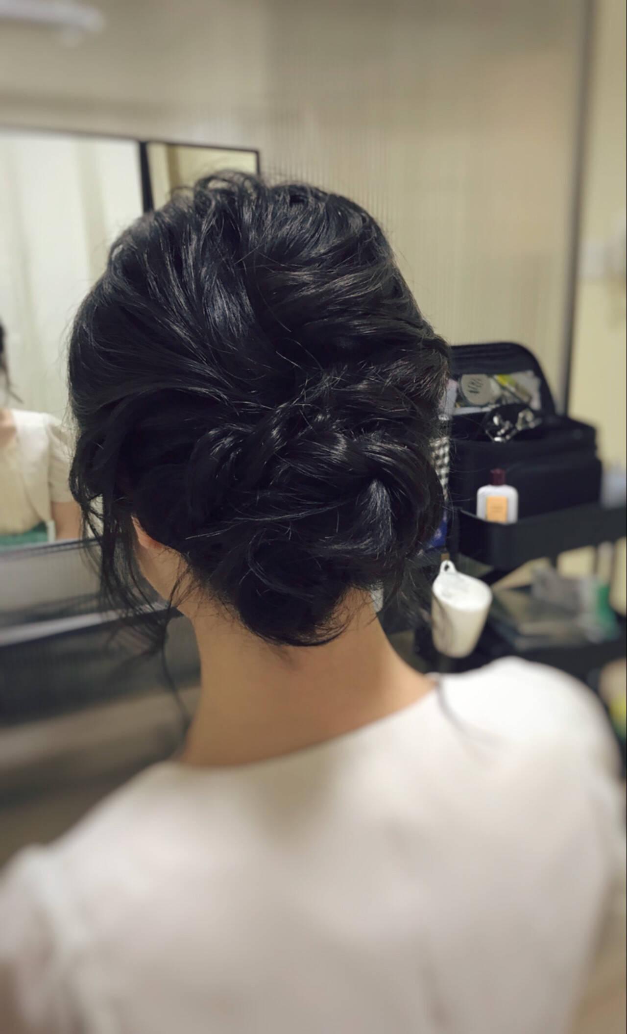 お呼ばれ 大人可愛い ミディアム 結婚式ヘアスタイルや髪型の写真・画像