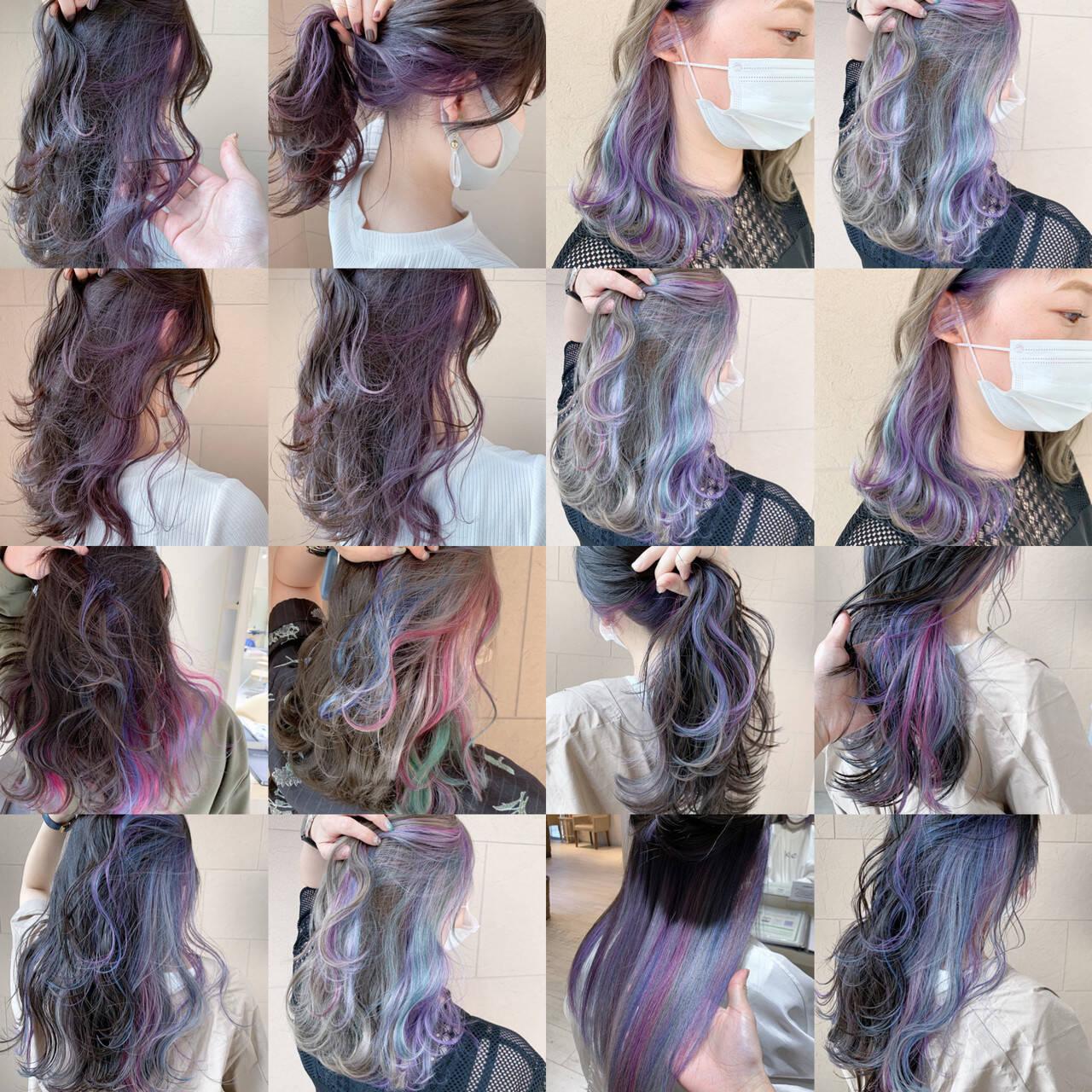 セミロング インナーカラー フェミニン ウルフカットヘアスタイルや髪型の写真・画像