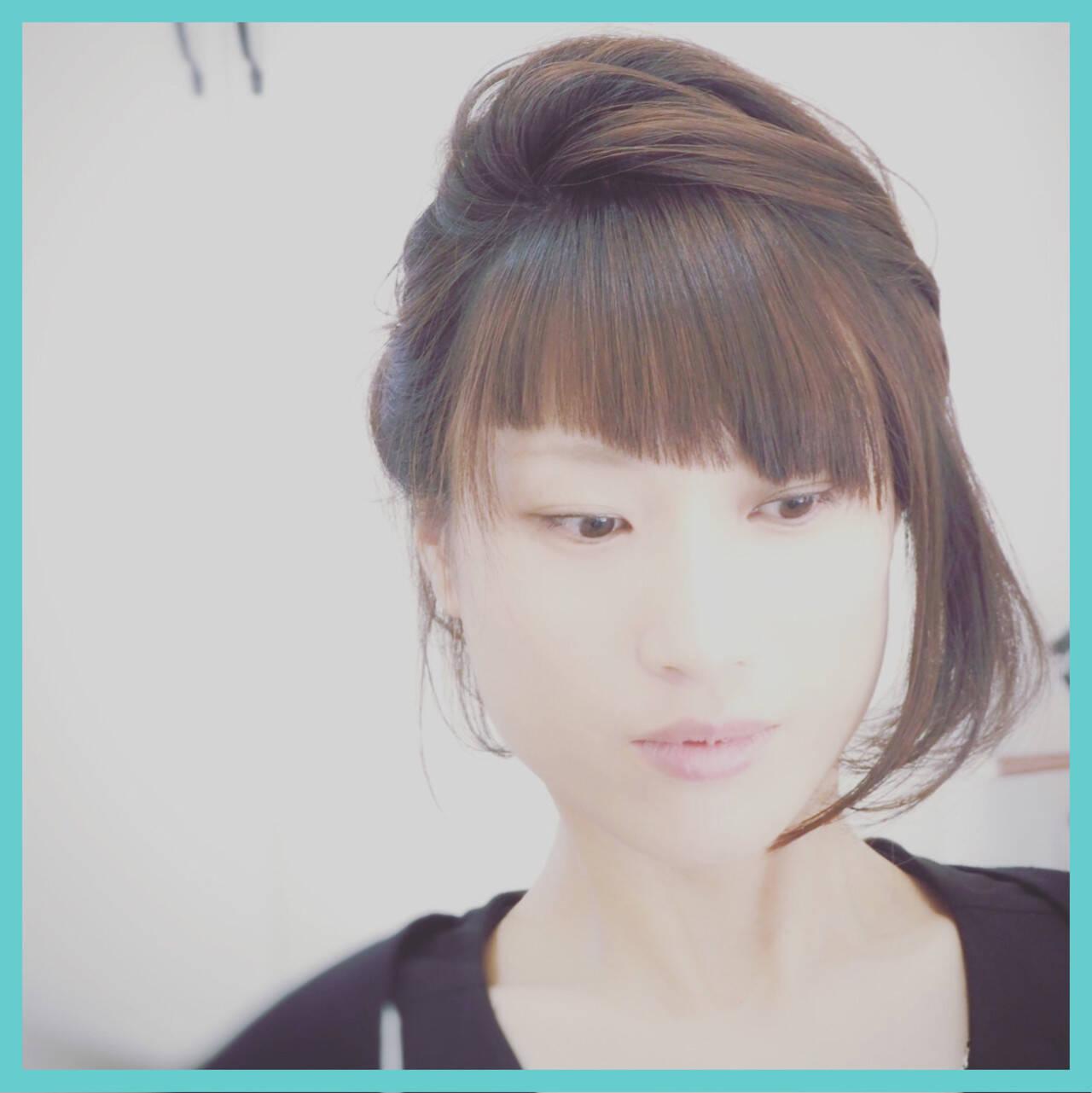 ショート ハーフアップ ヘアアレンジ ボブヘアスタイルや髪型の写真・画像