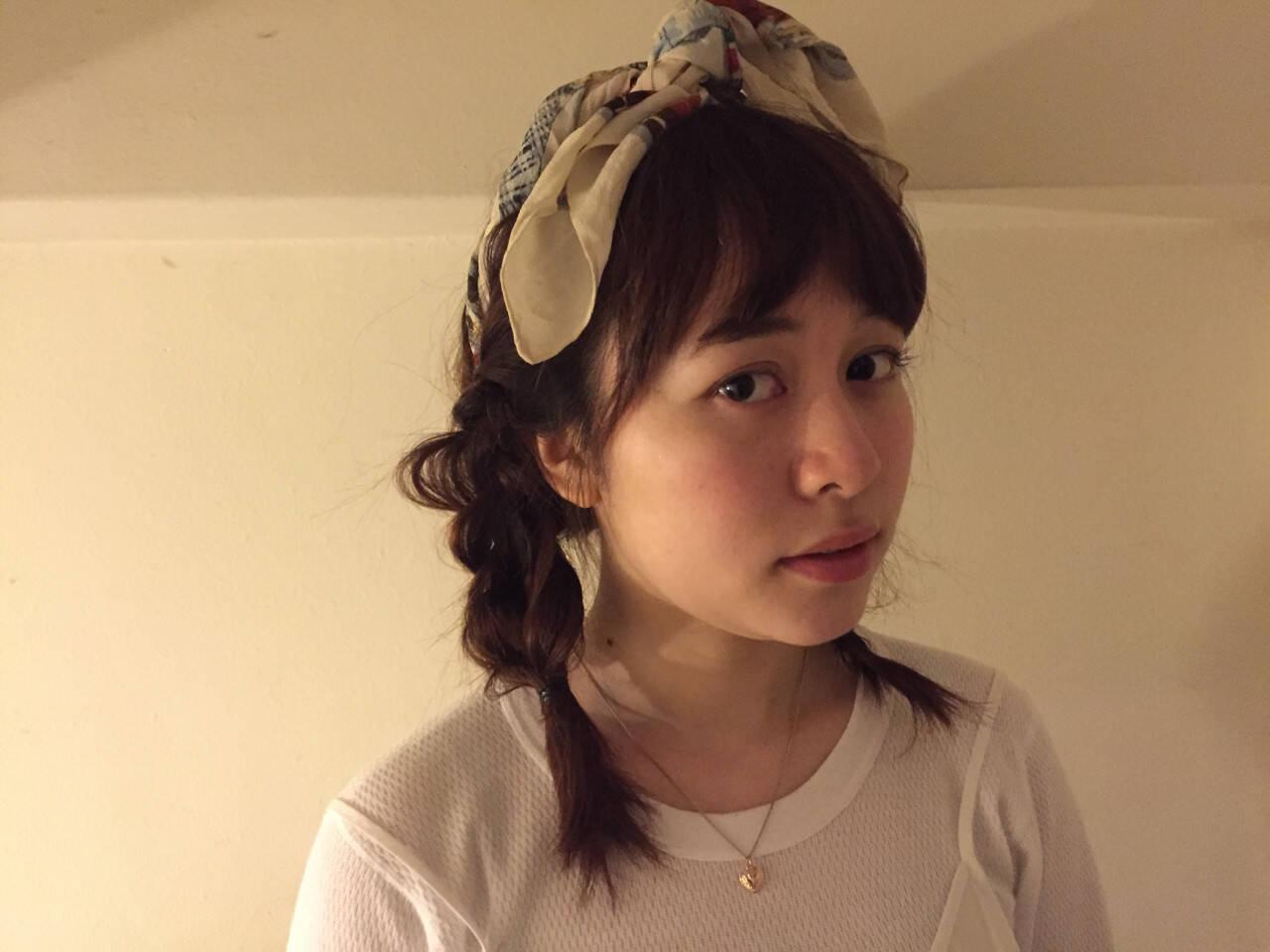 外国人風 ヘアアレンジ バンダナ 簡単ヘアアレンジヘアスタイルや髪型の写真・画像