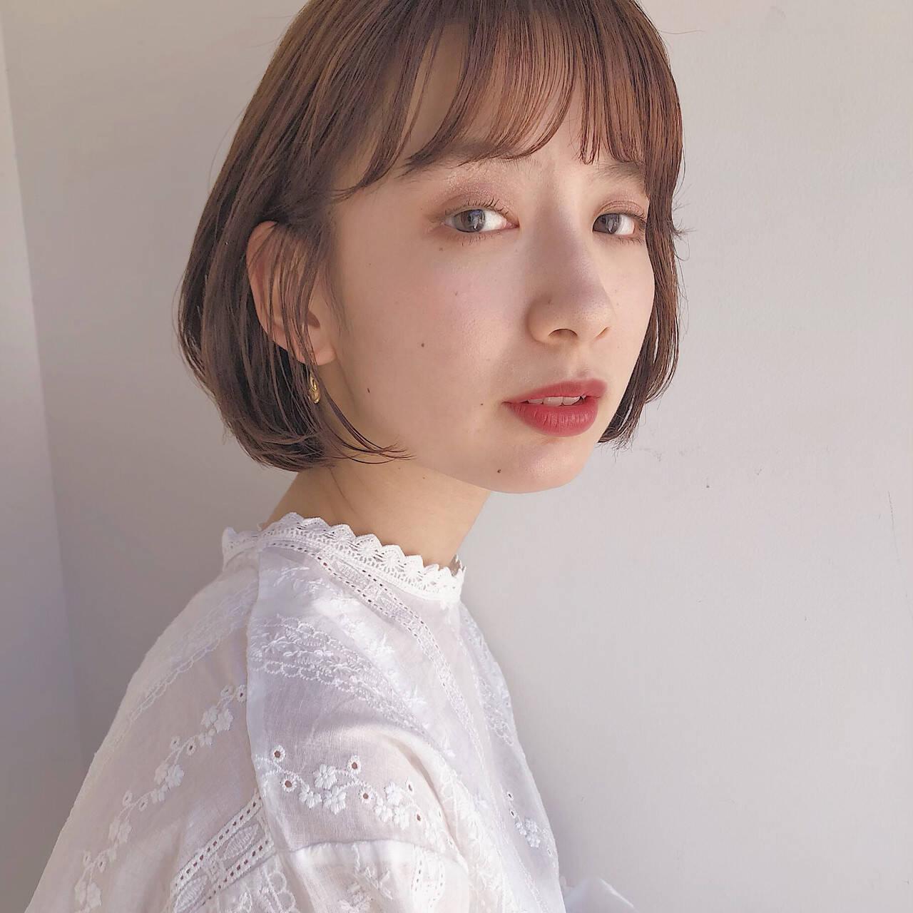 外ハネボブ ナチュラル 韓国ヘア ミニボブヘアスタイルや髪型の写真・画像