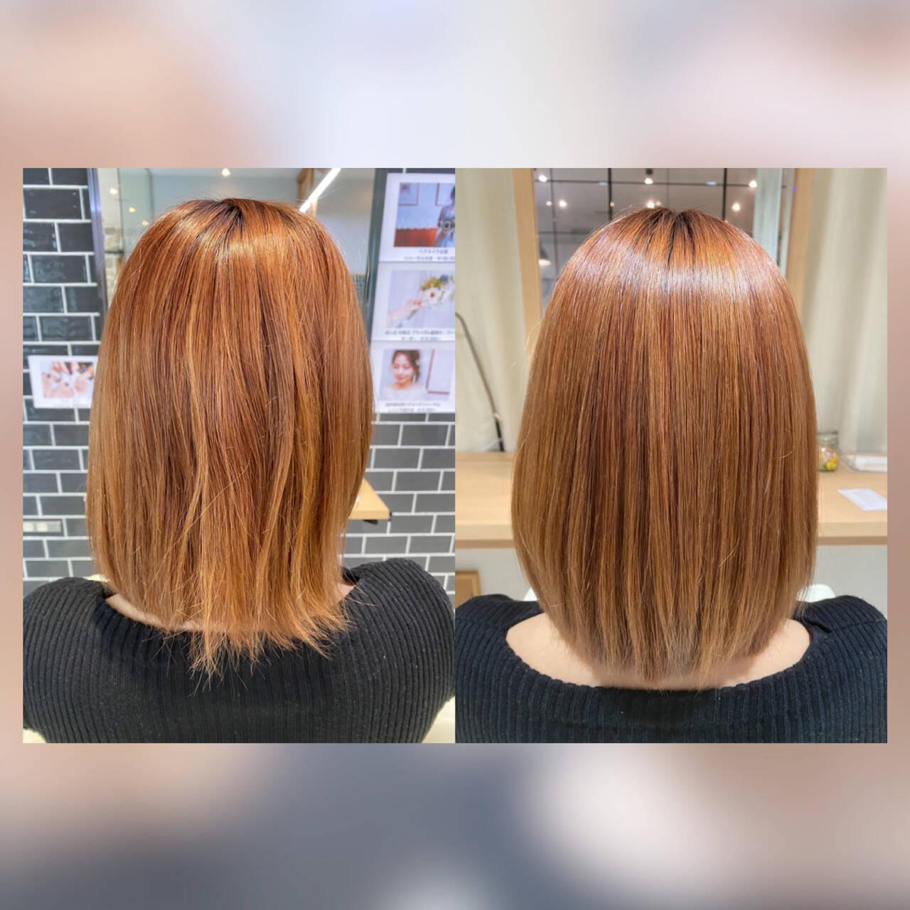 ボブ 髪質改善カラー 髪質改善トリートメント ナチュラルヘアスタイルや髪型の写真・画像