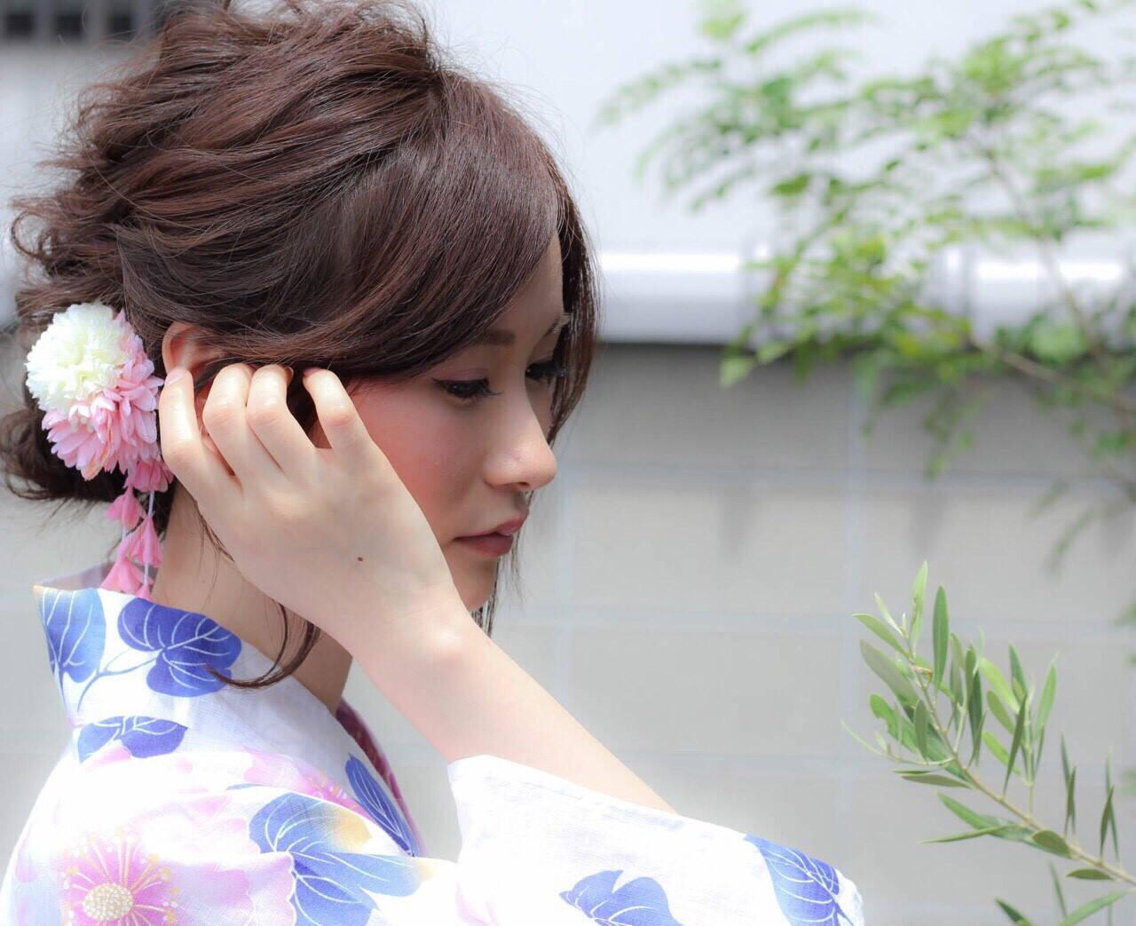 夏 色気 まとめ髪 涼しげヘアスタイルや髪型の写真・画像