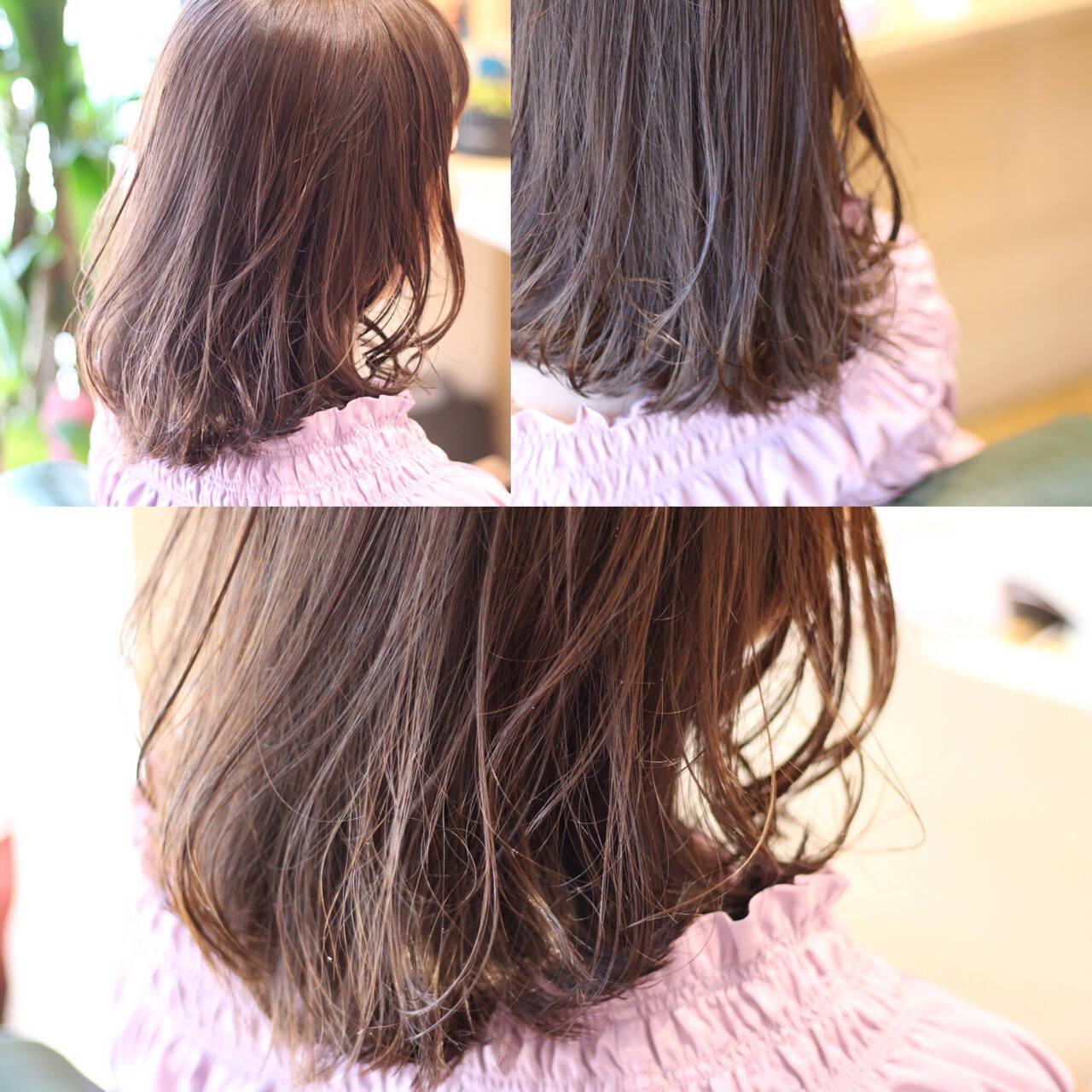 ナチュラル 黒髪 ミディアム アッシュヘアスタイルや髪型の写真・画像