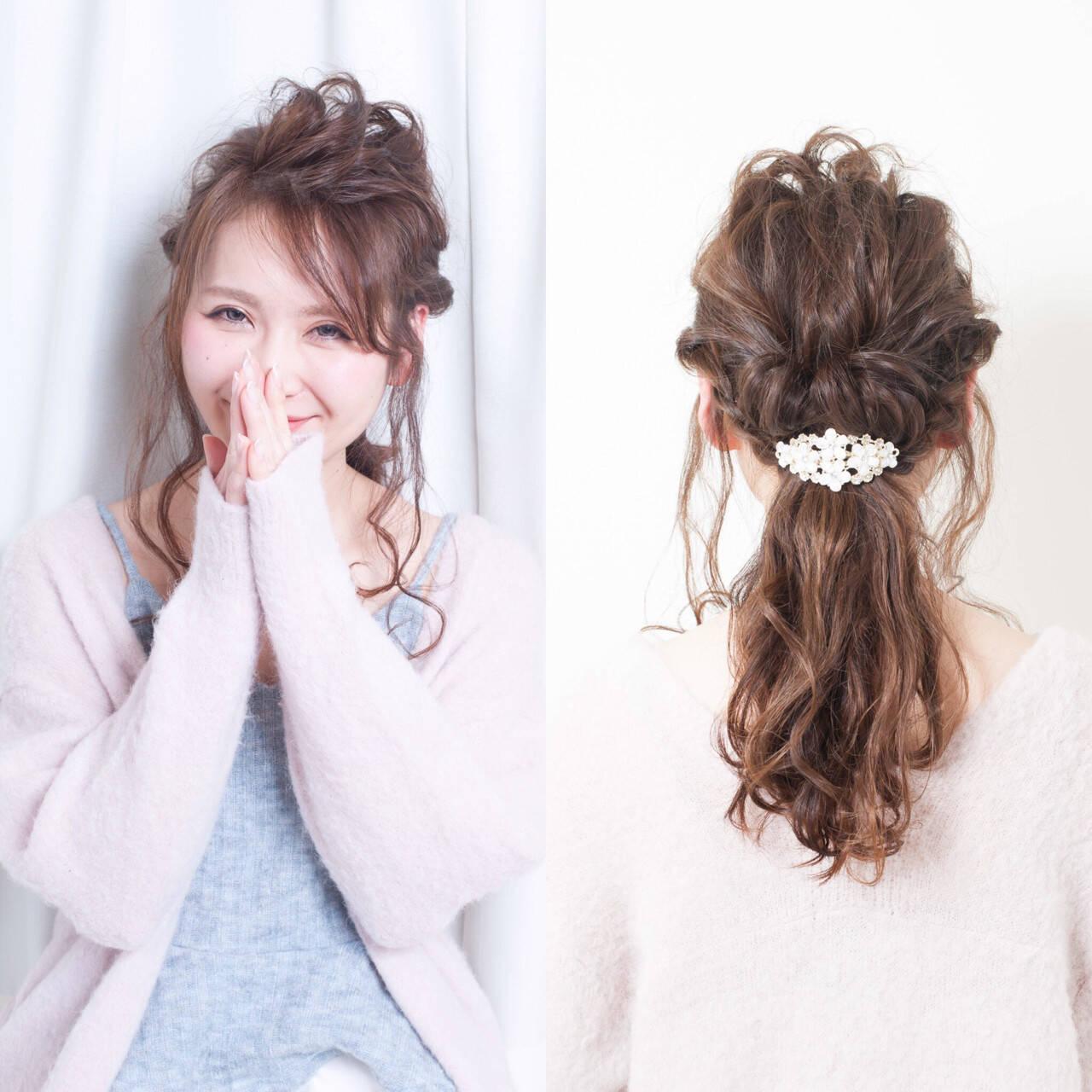 ロング レイヤーカット 大人かわいい 簡単ヘアアレンジヘアスタイルや髪型の写真・画像