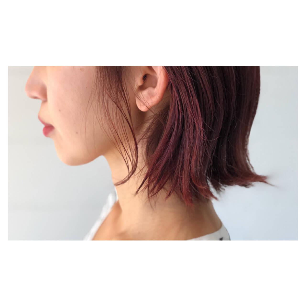 ピンク 大人女子 ラベンダーピンク ボブヘアスタイルや髪型の写真・画像