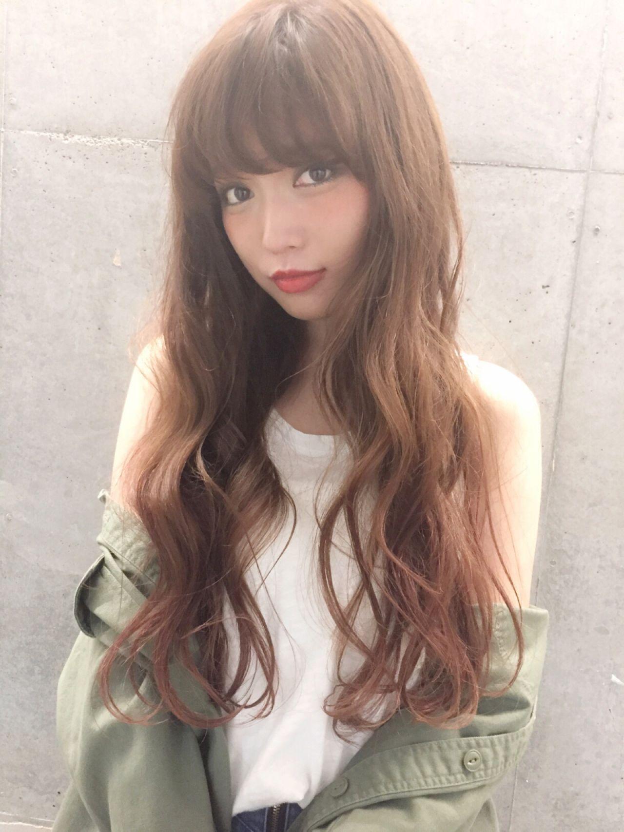 外国人風 ストリート グラデーションカラー ロングヘアスタイルや髪型の写真・画像