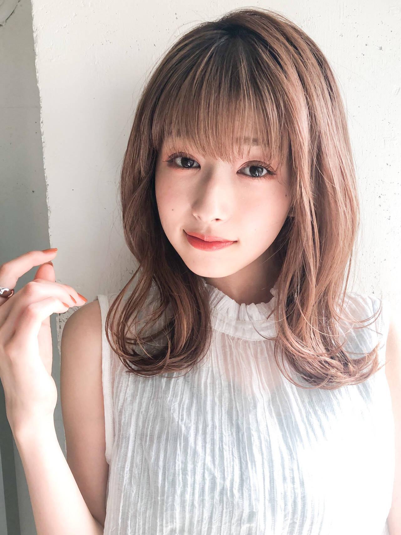 ストレート パーマ デジタルパーマ 前髪ありヘアスタイルや髪型の写真・画像