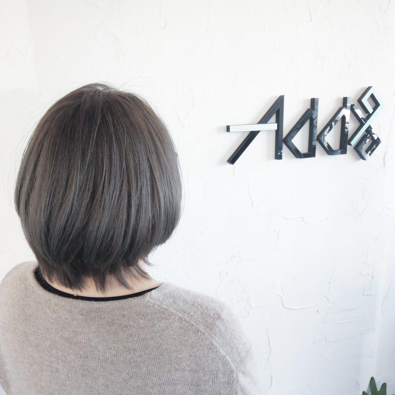 インナーカラー 裾カラー ウルフカット ミニボブヘアスタイルや髪型の写真・画像
