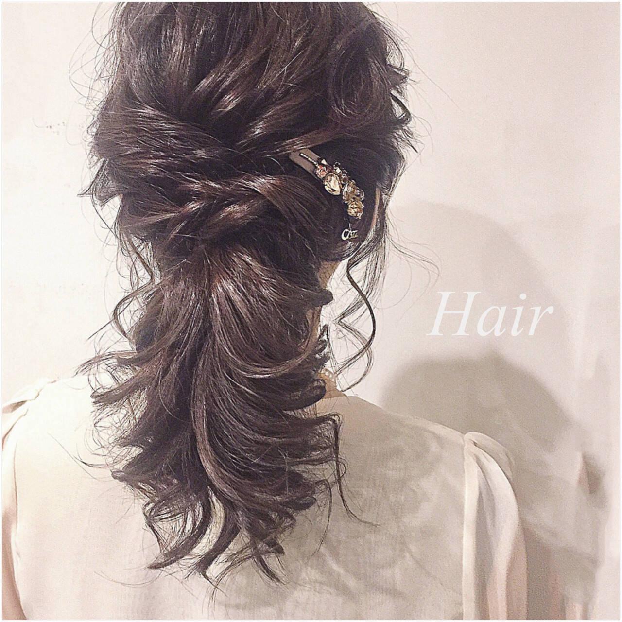 ナチュラル セミロング ポニーテール 大人かわいいヘアスタイルや髪型の写真・画像