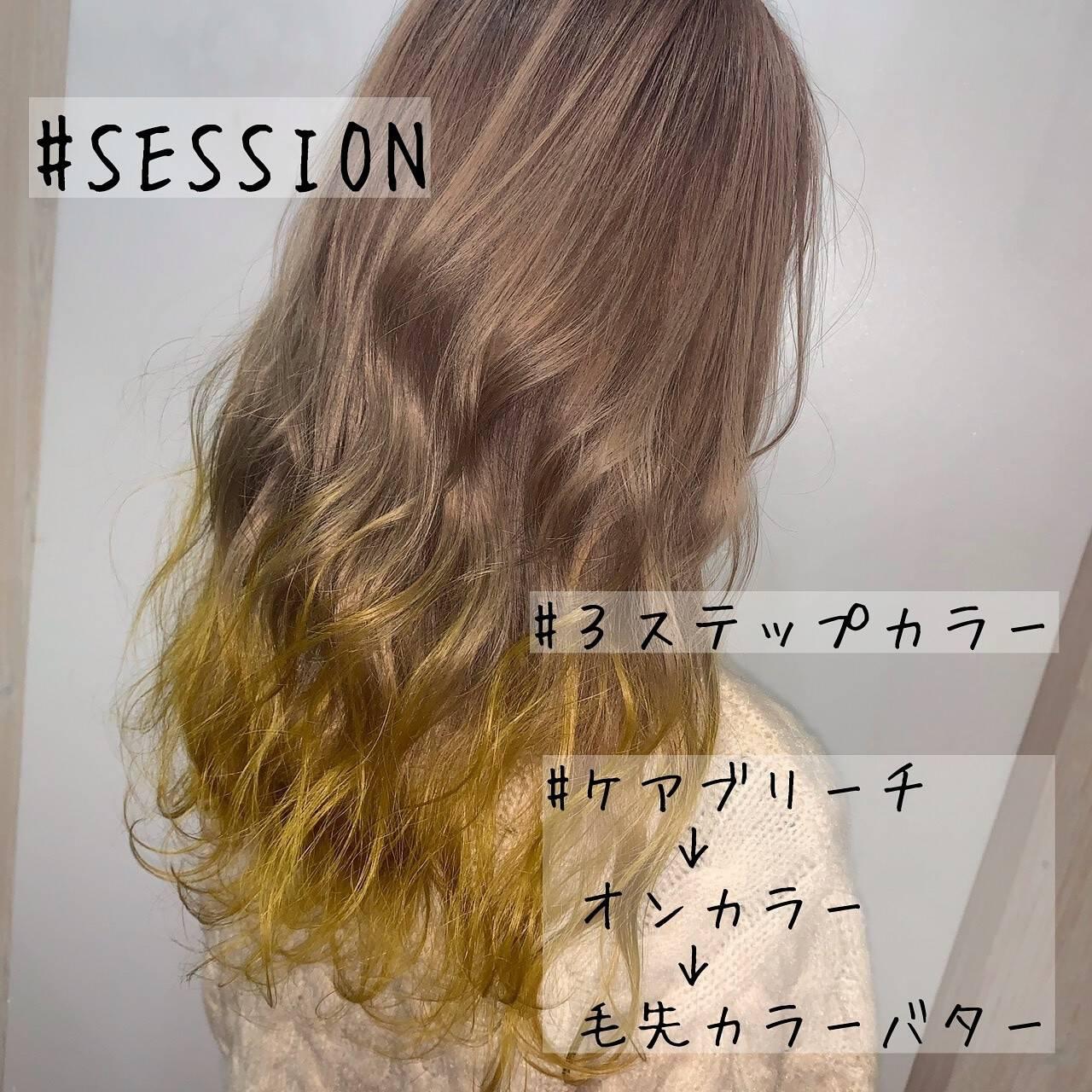 セミロング ガーリー ハイトーン ハニーイエローヘアスタイルや髪型の写真・画像