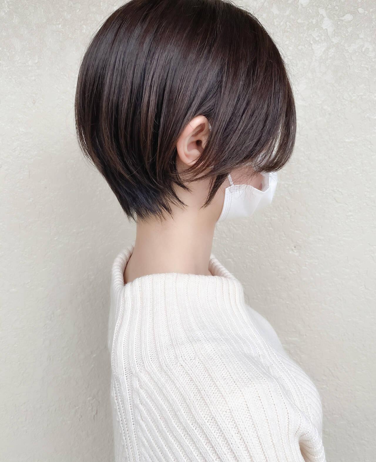 ナチュラル 大人ショート ショートボブ ショートヘアヘアスタイルや髪型の写真・画像