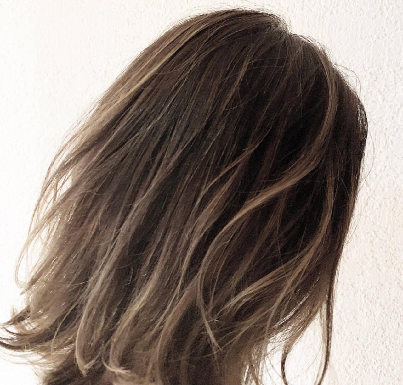 グラデーションカラー ハイライト ミディアム ヘアアレンジヘアスタイルや髪型の写真・画像
