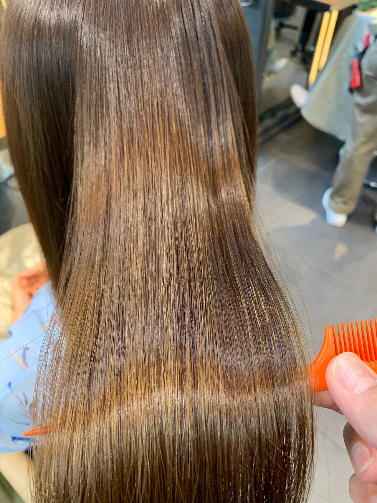 縮毛矯正 髪質改善トリートメント ナチュラル ロングヘアスタイルや髪型の写真・画像