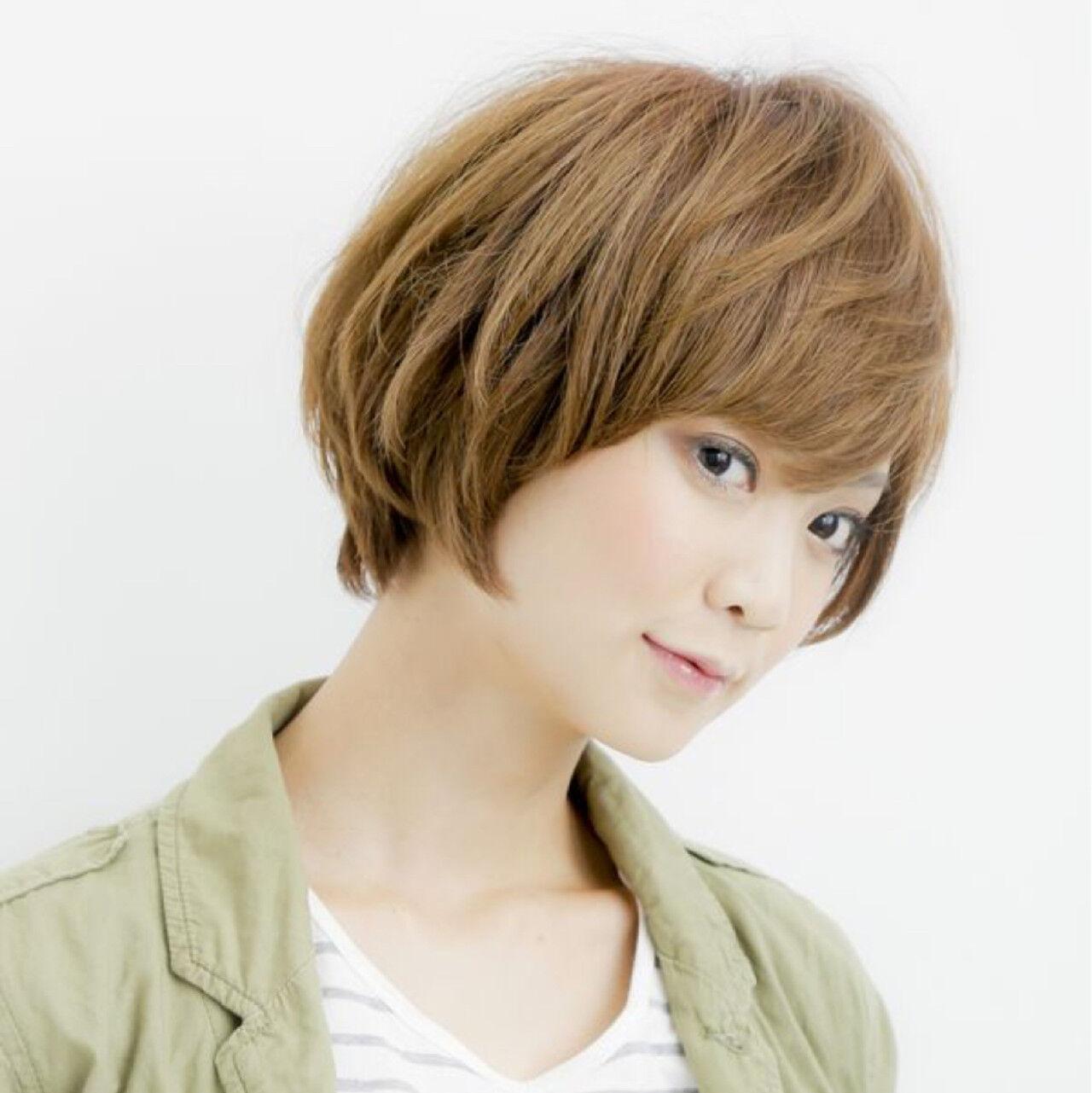 小顔 ナチュラル 似合わせ ショートヘアスタイルや髪型の写真・画像