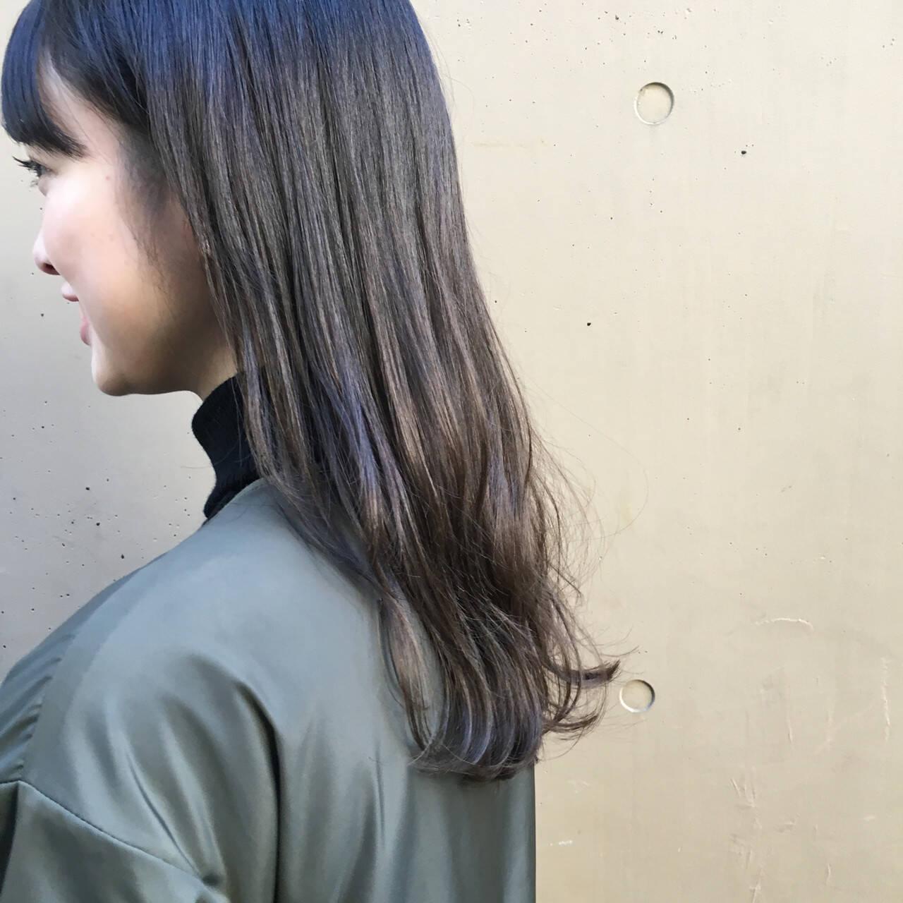 暗髪 おしゃれ 外国人風カラー くすみカラーヘアスタイルや髪型の写真・画像