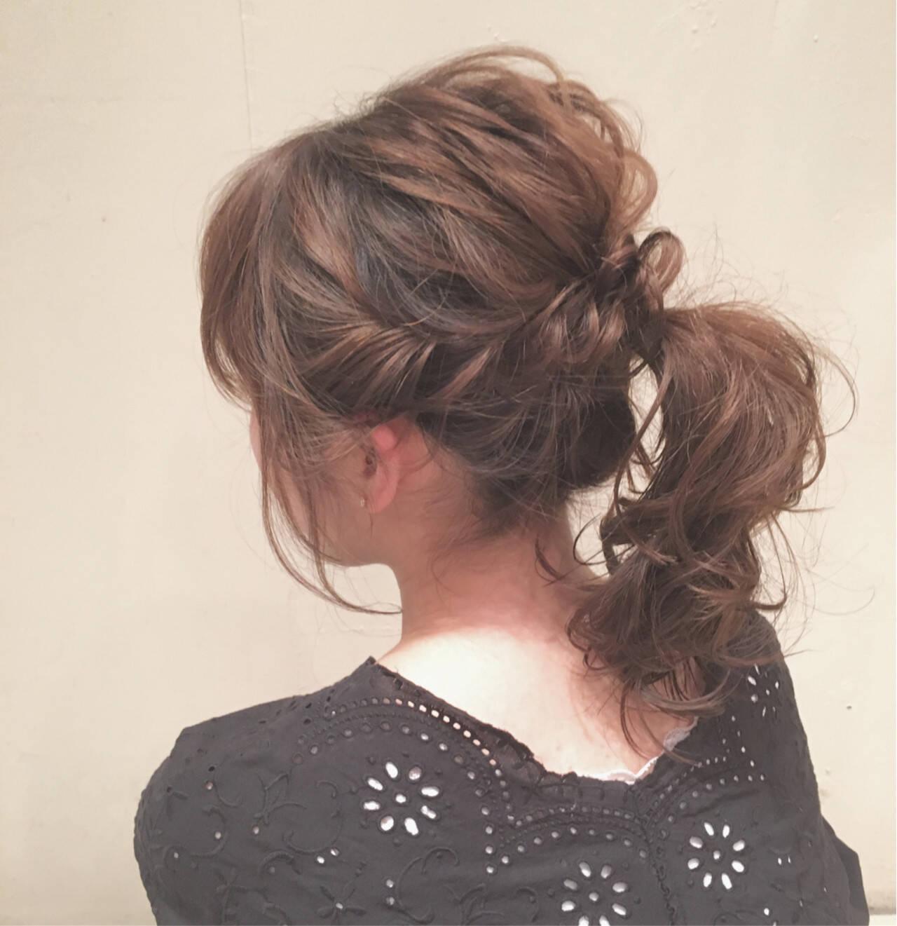 ゆるふわ ポニーテール ミディアム ナチュラルヘアスタイルや髪型の写真・画像