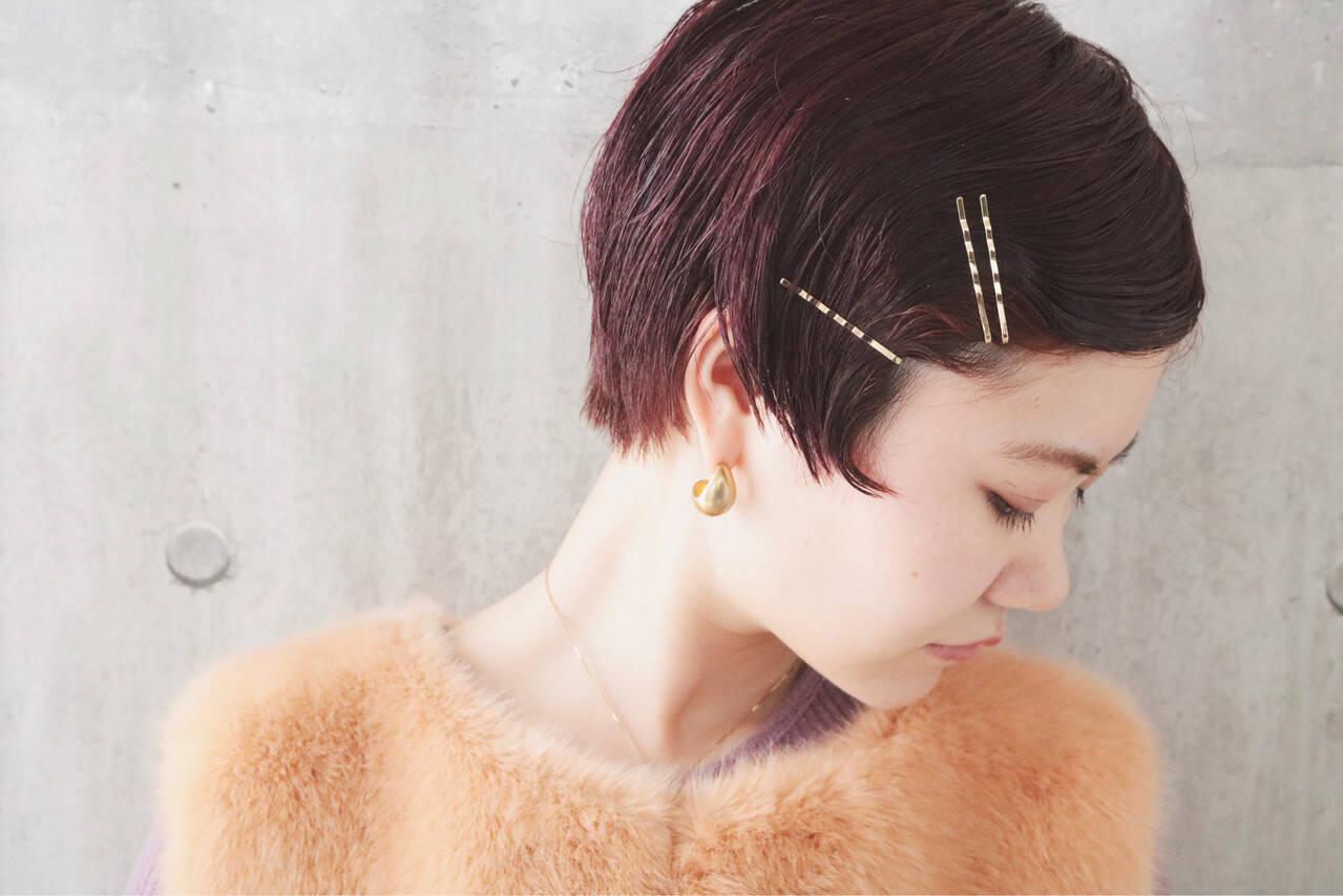 ショート パーマ アンニュイほつれヘア ピンクバイオレットヘアスタイルや髪型の写真・画像