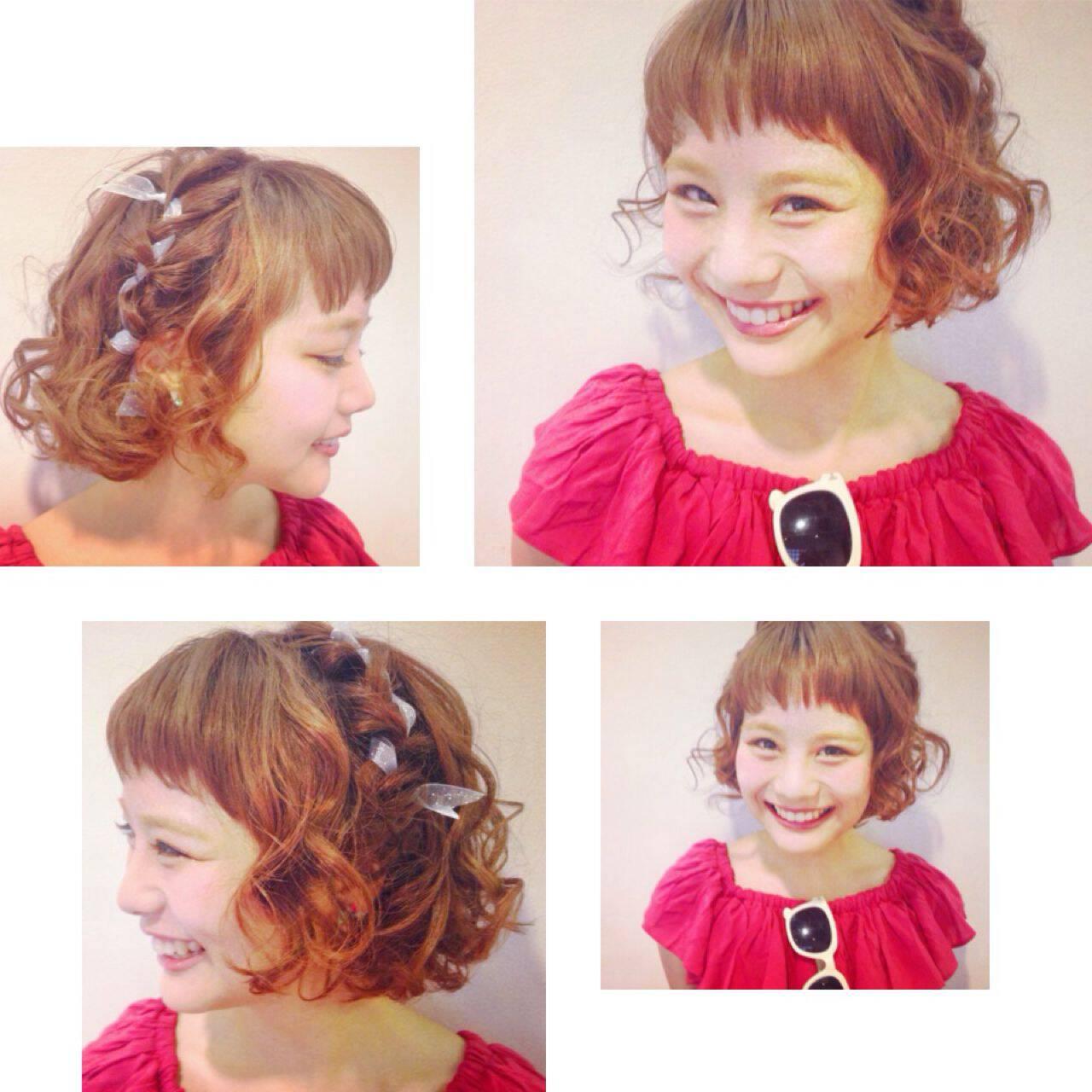 ガーリー ヘアアレンジ ショート 簡単ヘアアレンジヘアスタイルや髪型の写真・画像