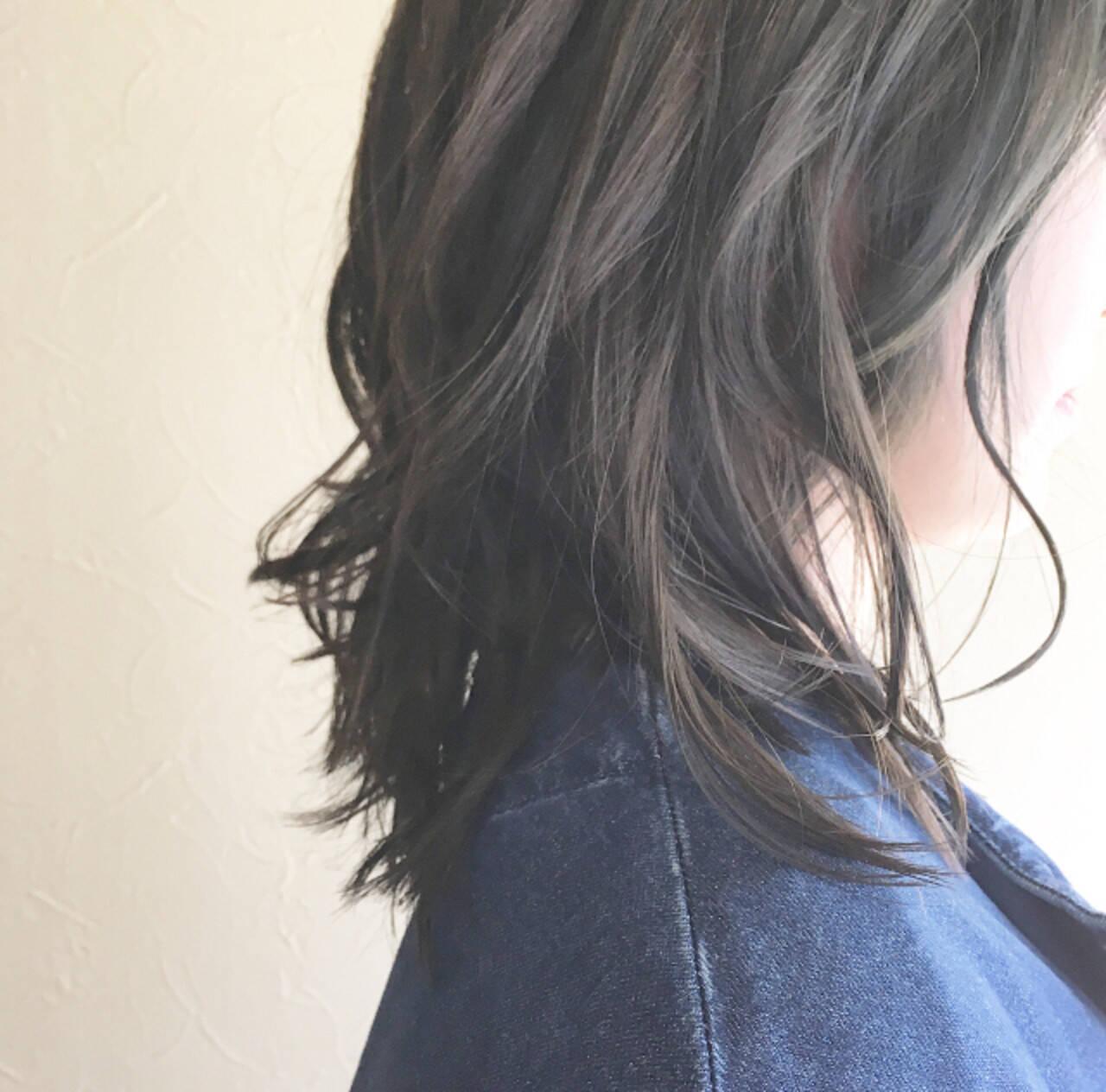 簡単スタイリング フェミニン パーマ ミディアムヘアスタイルや髪型の写真・画像