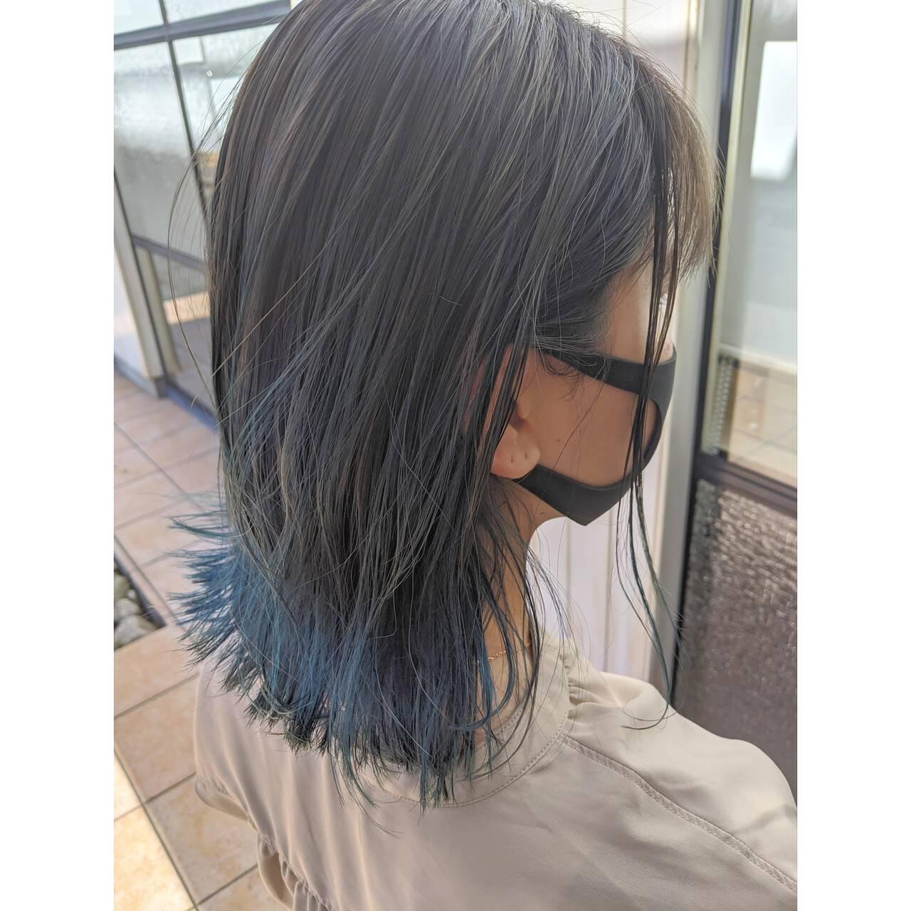 ブルー モード ボブ ネイビーブルーヘアスタイルや髪型の写真・画像