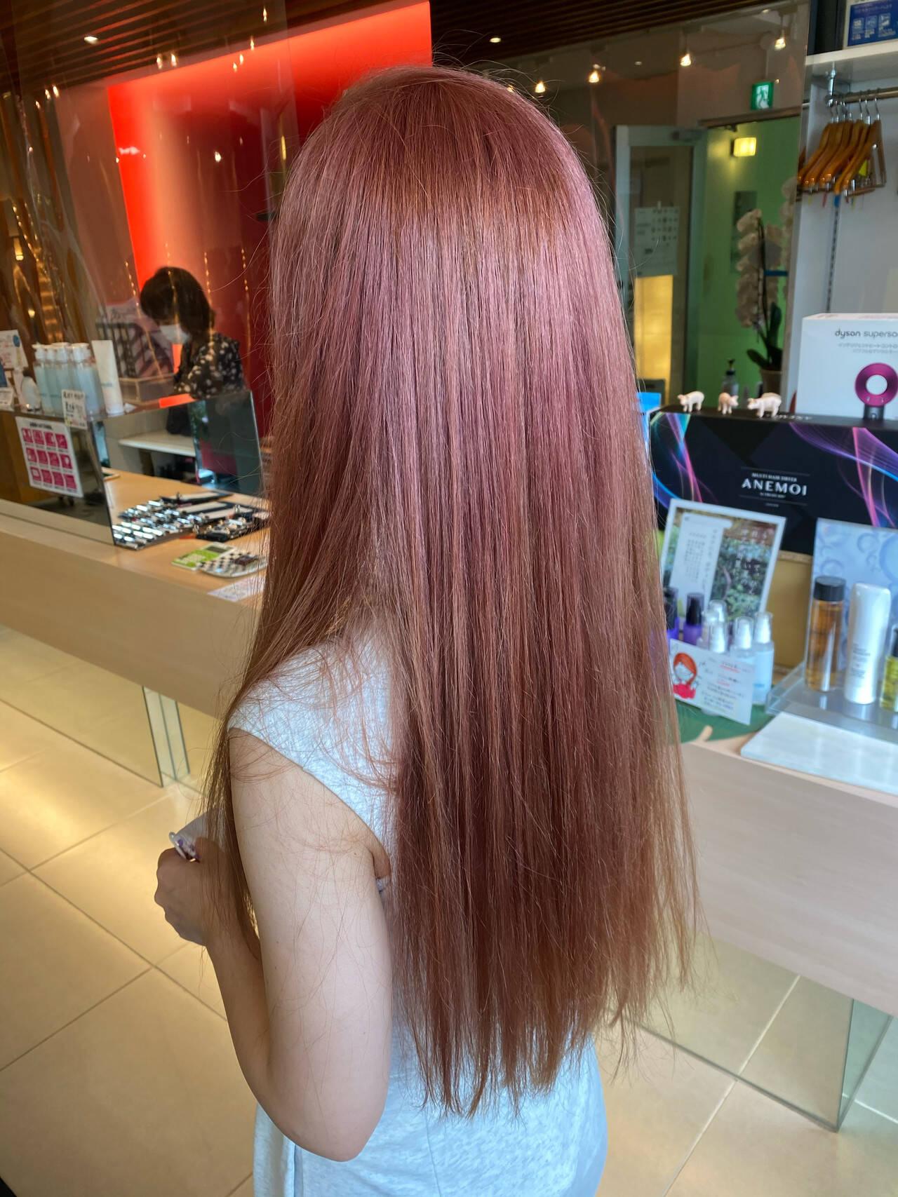 グラデーションカラー ロング ガーリー ダブルカラーヘアスタイルや髪型の写真・画像