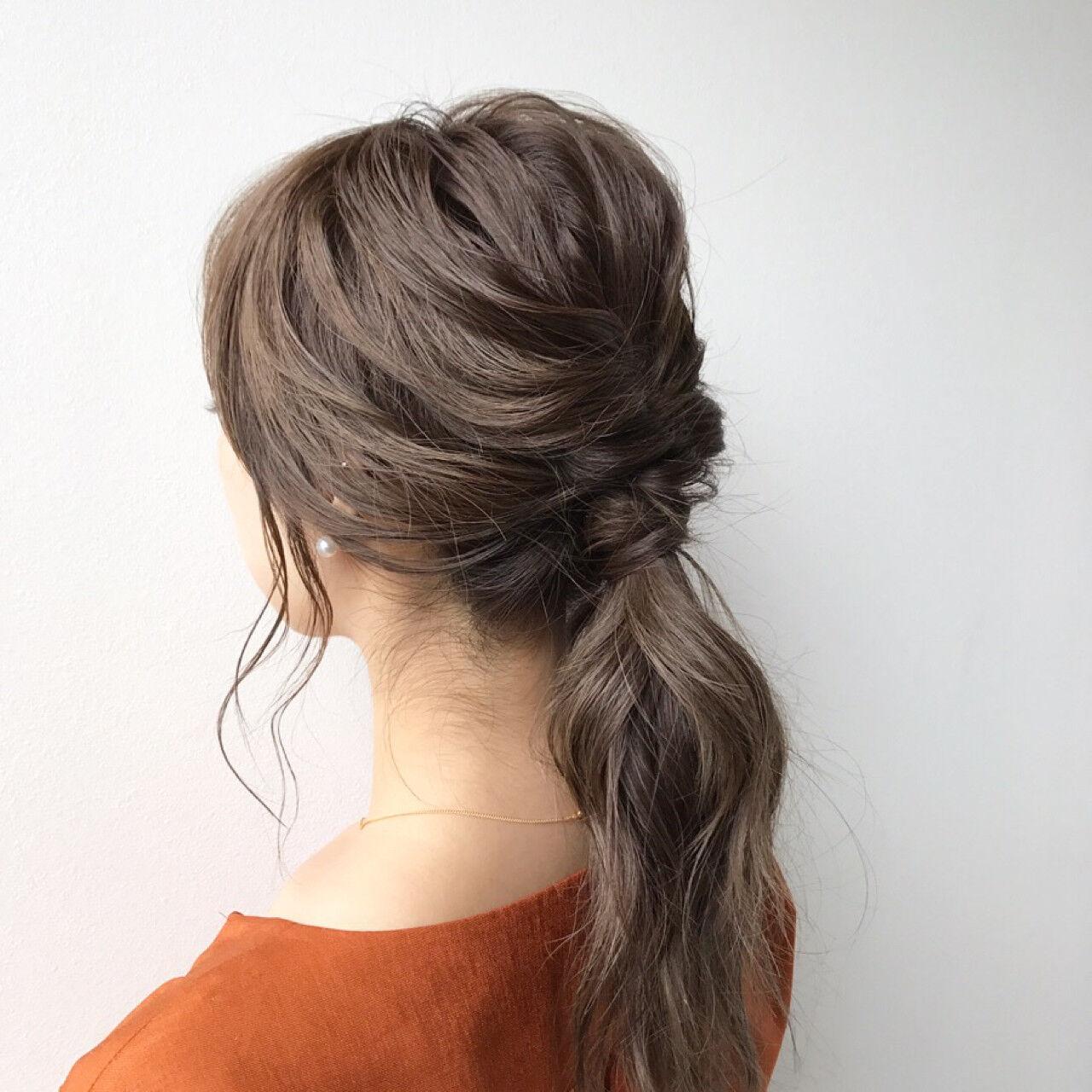 ミディアム 簡単ヘアアレンジ ショート ナチュラルヘアスタイルや髪型の写真・画像