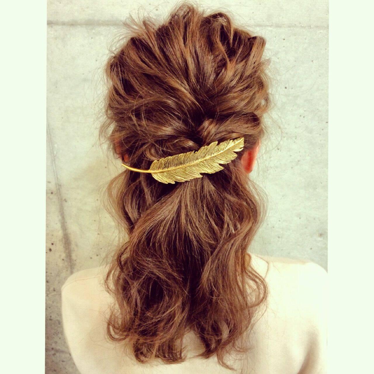 モテ髪 ゆるふわ バレッタ アップスタイルヘアスタイルや髪型の写真・画像