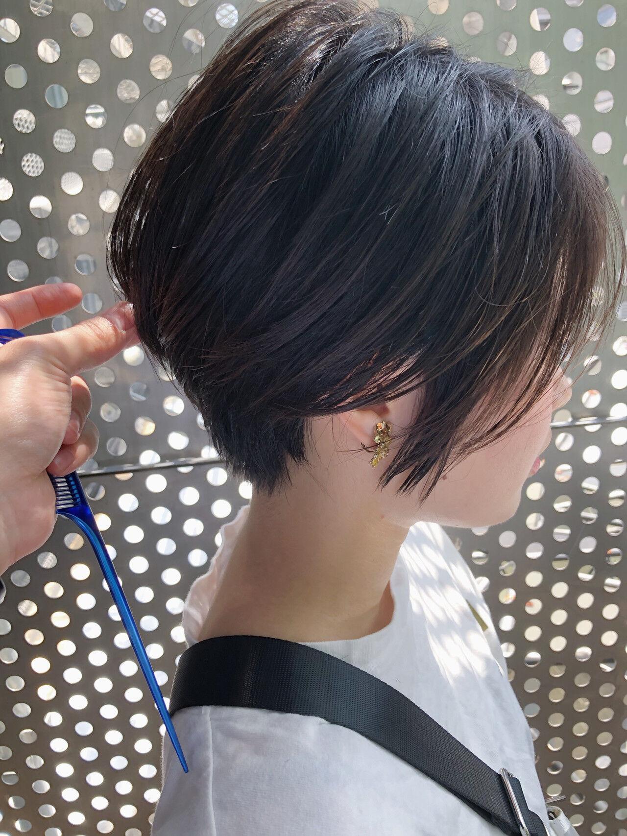 黒髪 パーマ ショート ヘアアレンジヘアスタイルや髪型の写真・画像