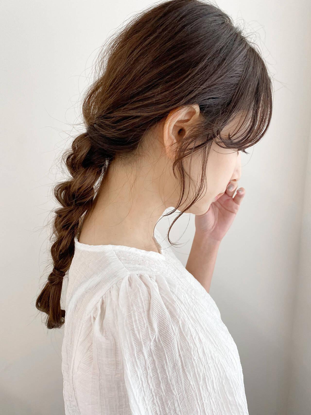 簡単ヘアアレンジ 結婚式ヘアアレンジ ナチュラル セミロングヘアスタイルや髪型の写真・画像