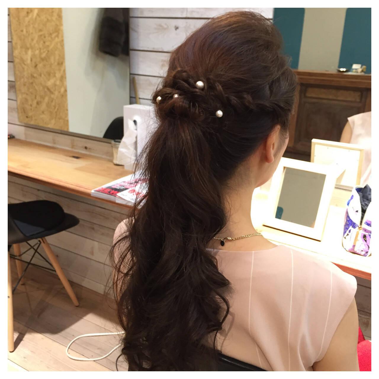 ポニーテール 編み込み ヘアアレンジ ロングヘアスタイルや髪型の写真・画像