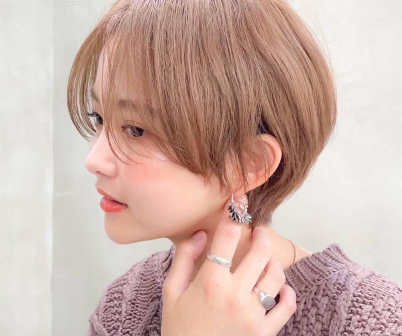 ラベンダーカラー ベリーショート ショートボブ フェミニンヘアスタイルや髪型の写真・画像