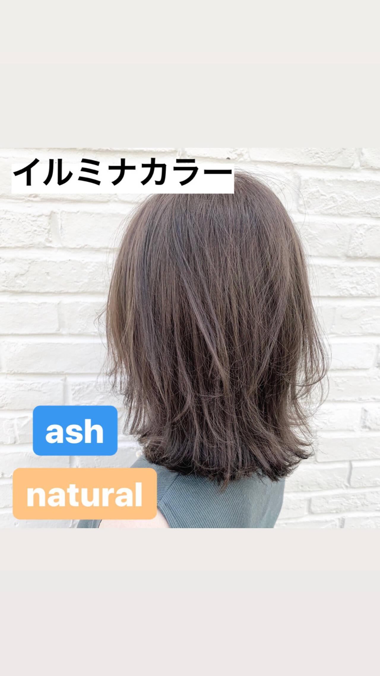 ブリーチ無し アッシュグレージュ 透明感カラー ナチュラルヘアスタイルや髪型の写真・画像