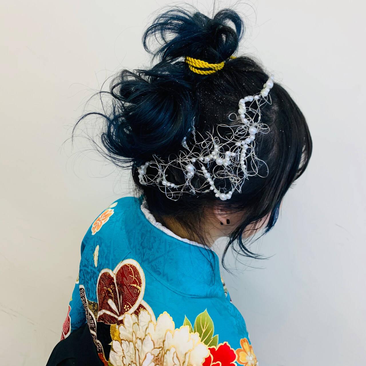 お団子アレンジ お呼ばれヘア モード 卒業式ヘアスタイルや髪型の写真・画像