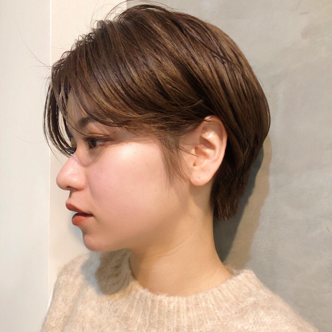 ナチュラル ショート 外国人風カラー センターパートヘアスタイルや髪型の写真・画像