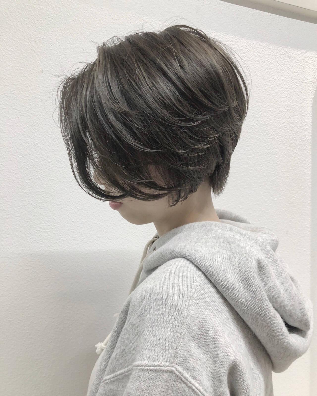 ショートボブ ハイライト ショート ミニボブヘアスタイルや髪型の写真・画像