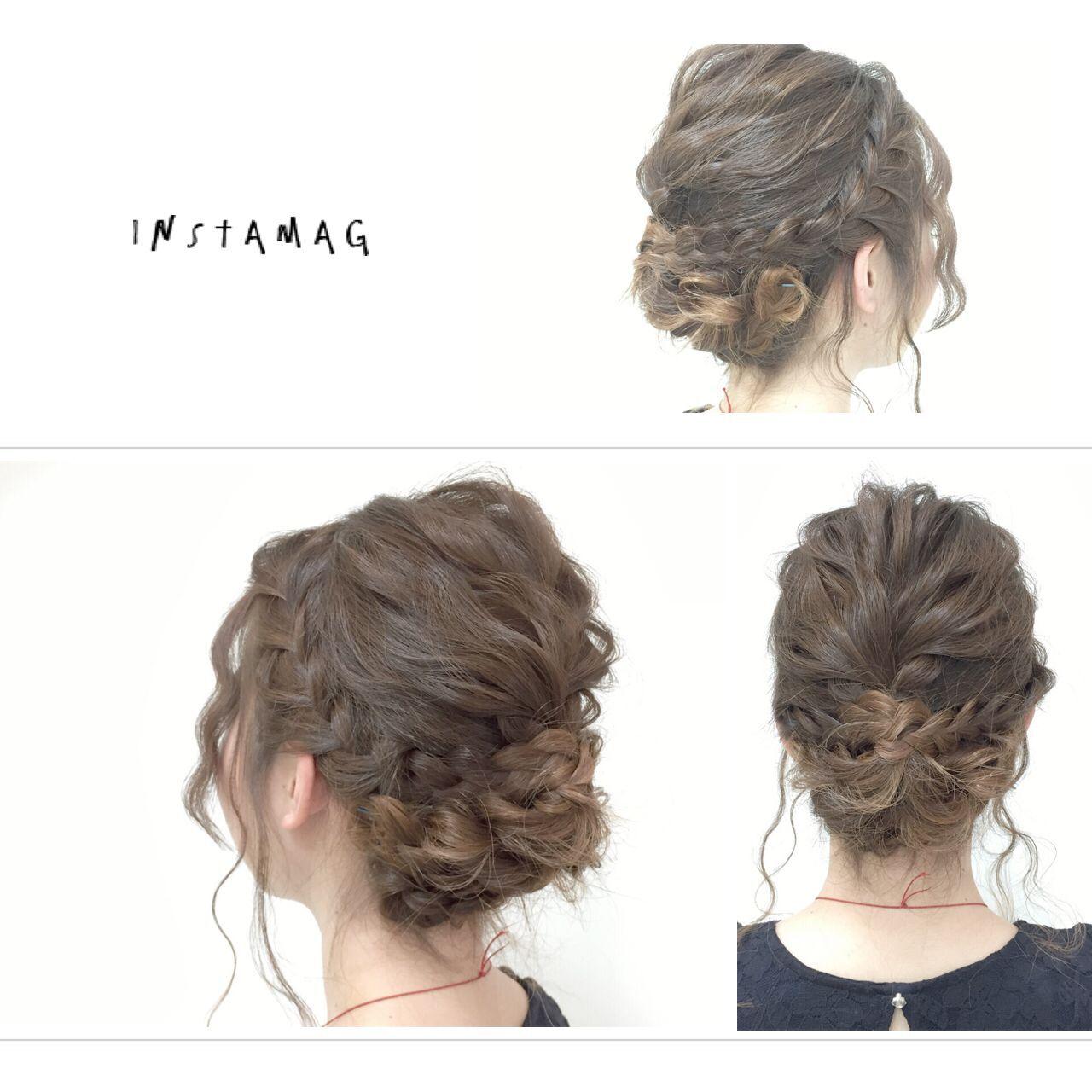 セミロング 波ウェーブ ヘアアレンジ 愛されヘアスタイルや髪型の写真・画像