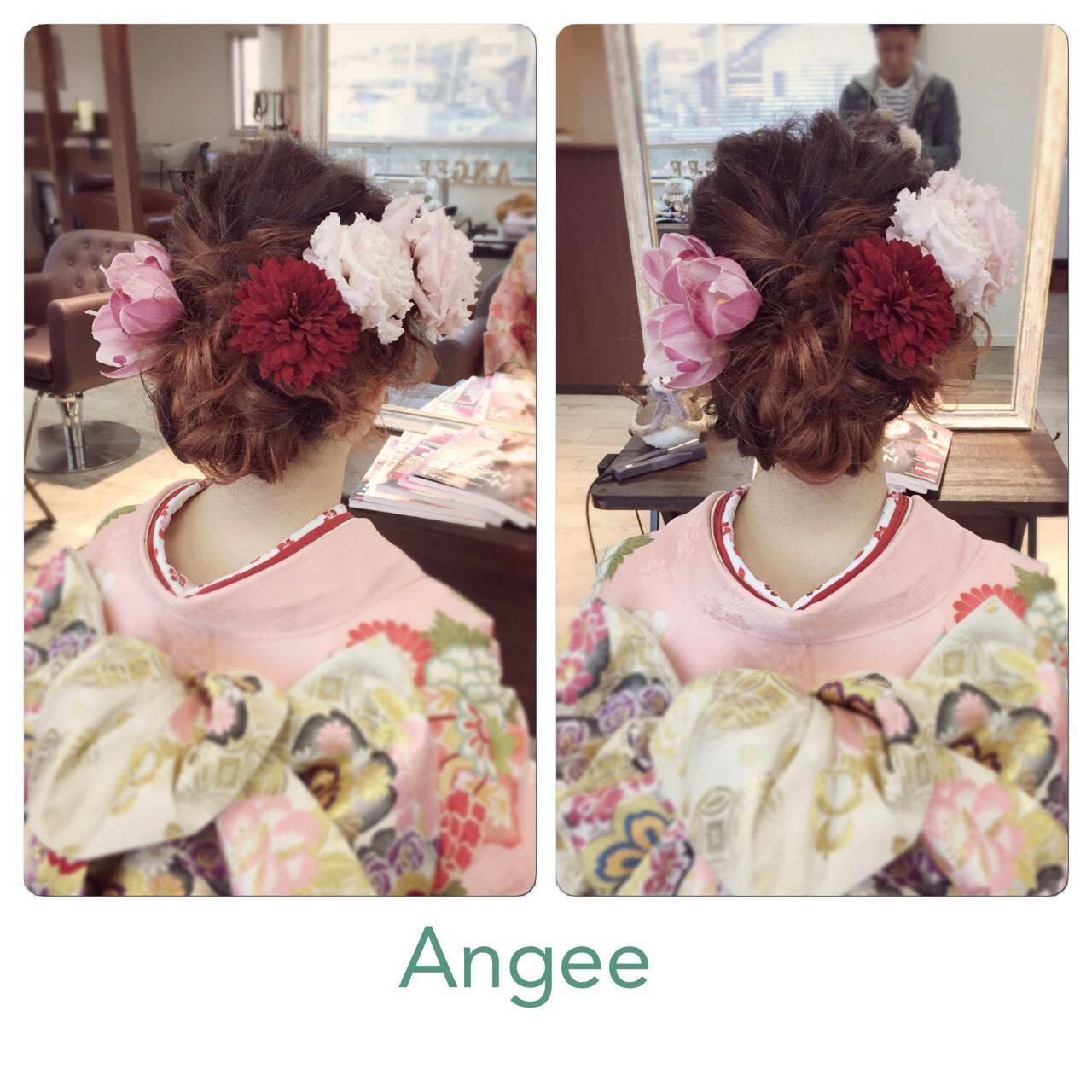 アップスタイル ヘアアレンジ 成人式 ストリートヘアスタイルや髪型の写真・画像
