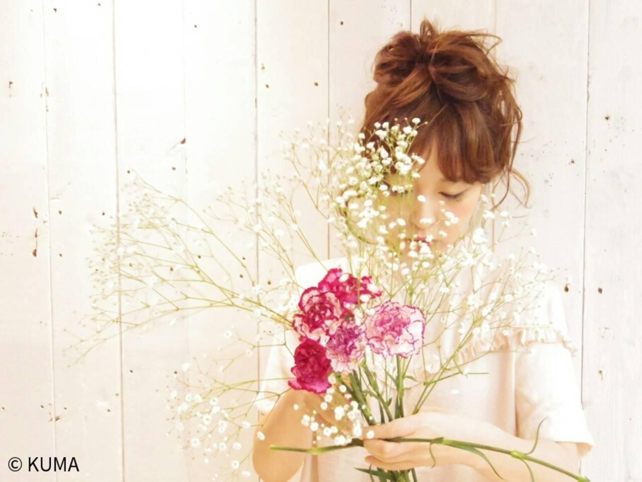 フェミニン ゆるふわ ガーリー ヘアアレンジヘアスタイルや髪型の写真・画像