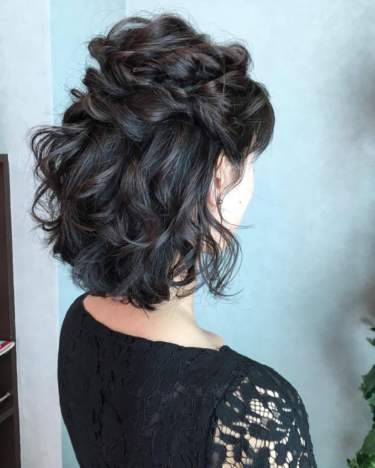 ボブ エレガント ヘアアレンジ 結婚式ヘアスタイルや髪型の写真・画像