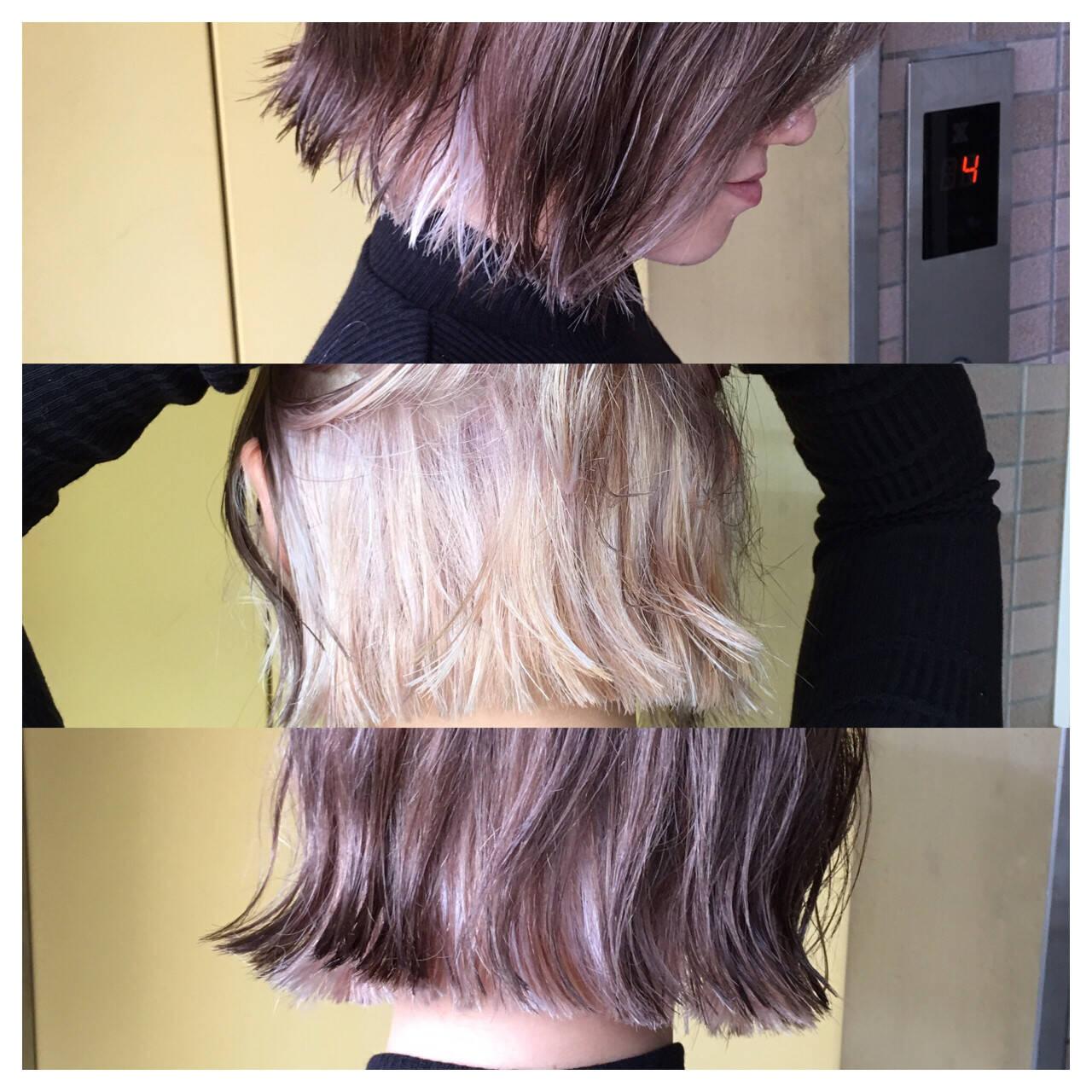 色気 インナーカラー ストリート ボブヘアスタイルや髪型の写真・画像