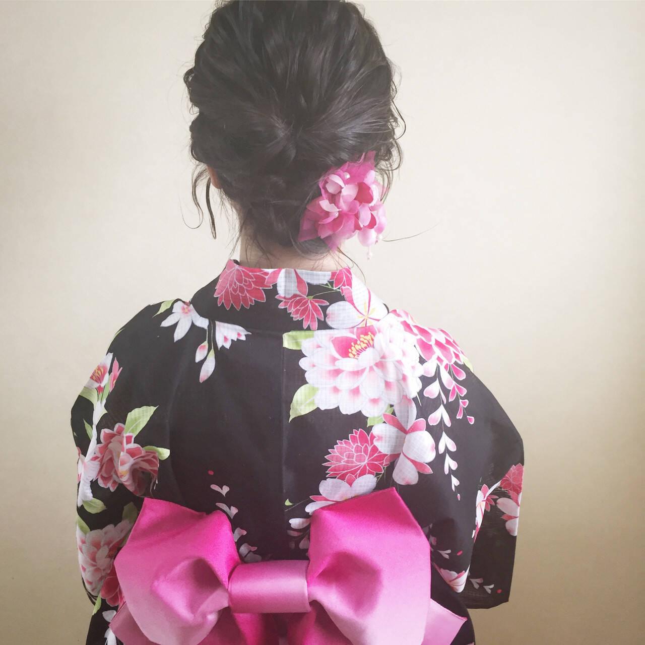 お祭り ガーリー 夏 和装ヘアスタイルや髪型の写真・画像
